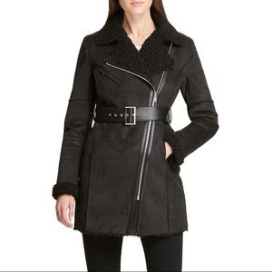 DKNY Black Belted Faux Shearling Coat Size Large